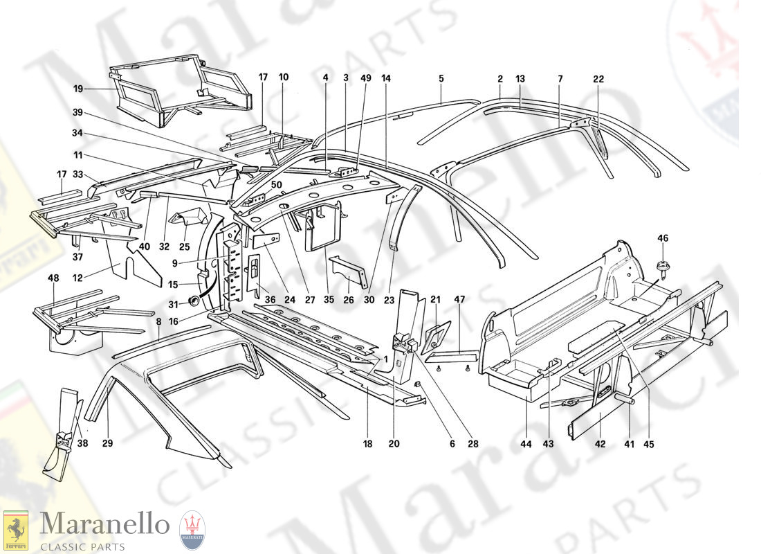 105 - Body Shell - Inner Elements (Not For Aus - Us - Sa - J - Ch87 - Ch88)