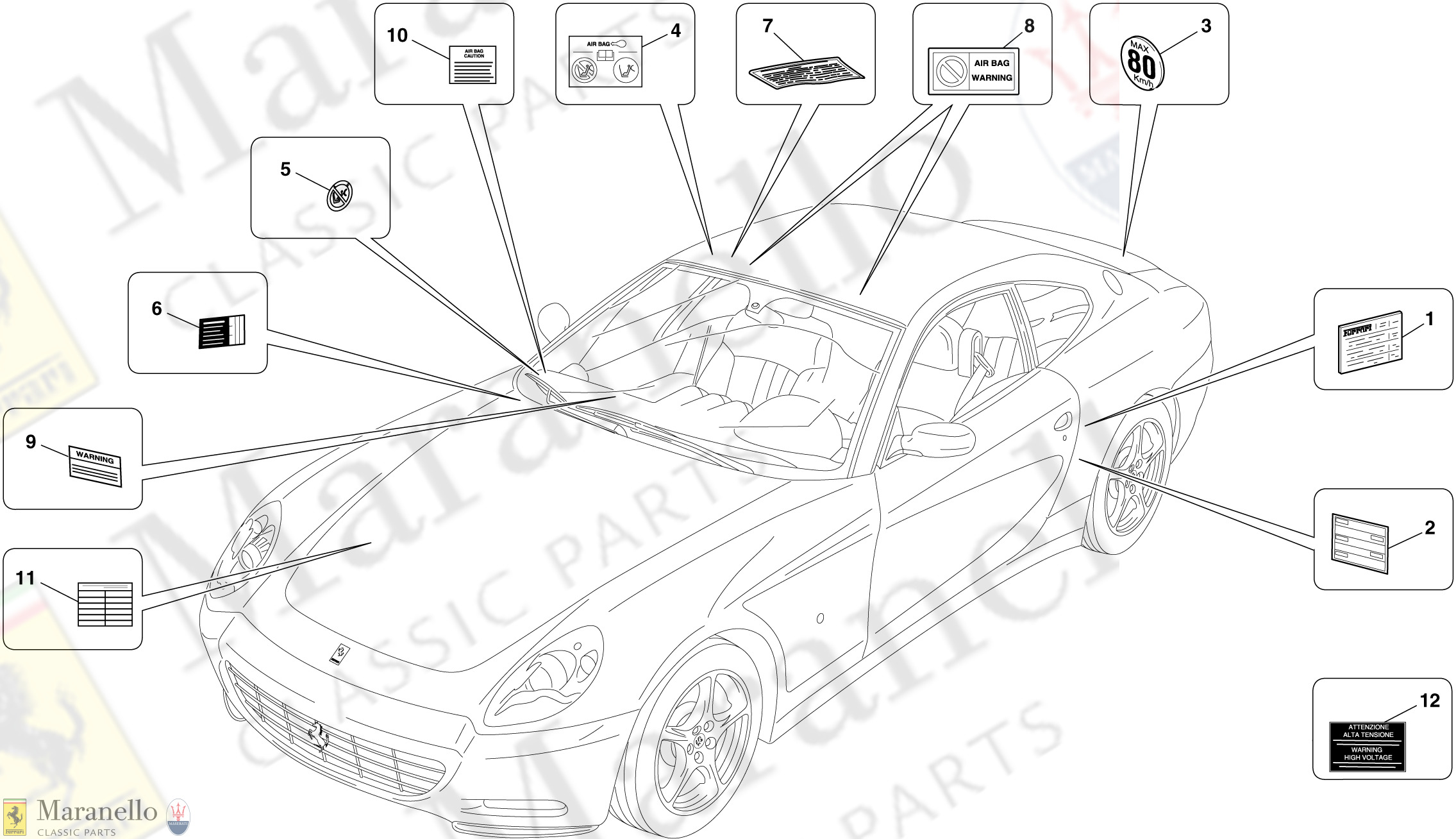 141 - Adhesive Labels And Plaques parts diagram for Ferrari ... Car Diagram With Labels on car diagram without labels, car diagram with titles, car drawing with labels, car parts with labels, car model with labels, motor car with labels, car diagram with parts labeled,