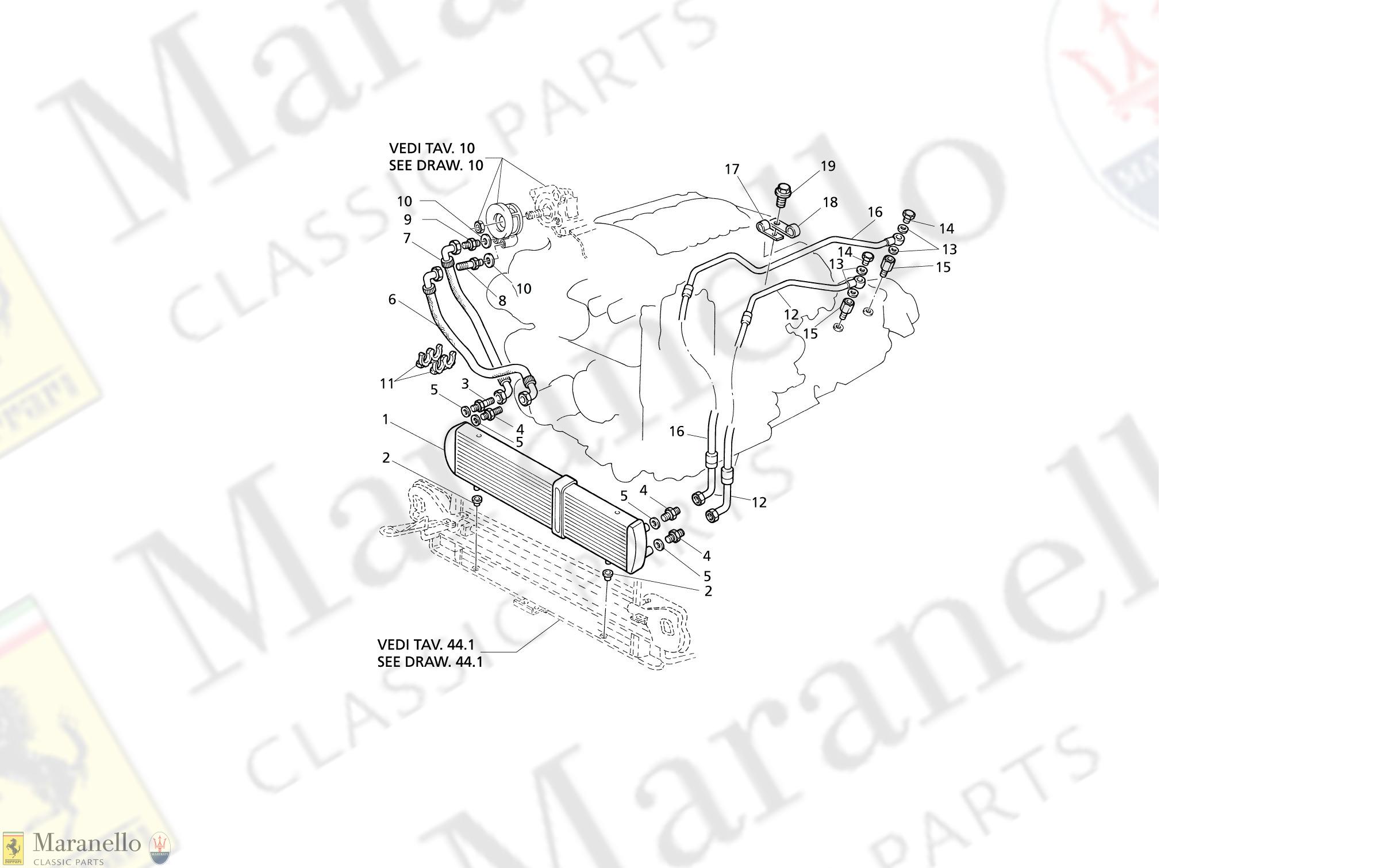C 10.2 - C 102 - Engine Oil Cooling / At parts diagram for Maserati  QUATTROPORTE EVOLUZIONE V8 | Maranello Classic PartsMaranello Classic Parts