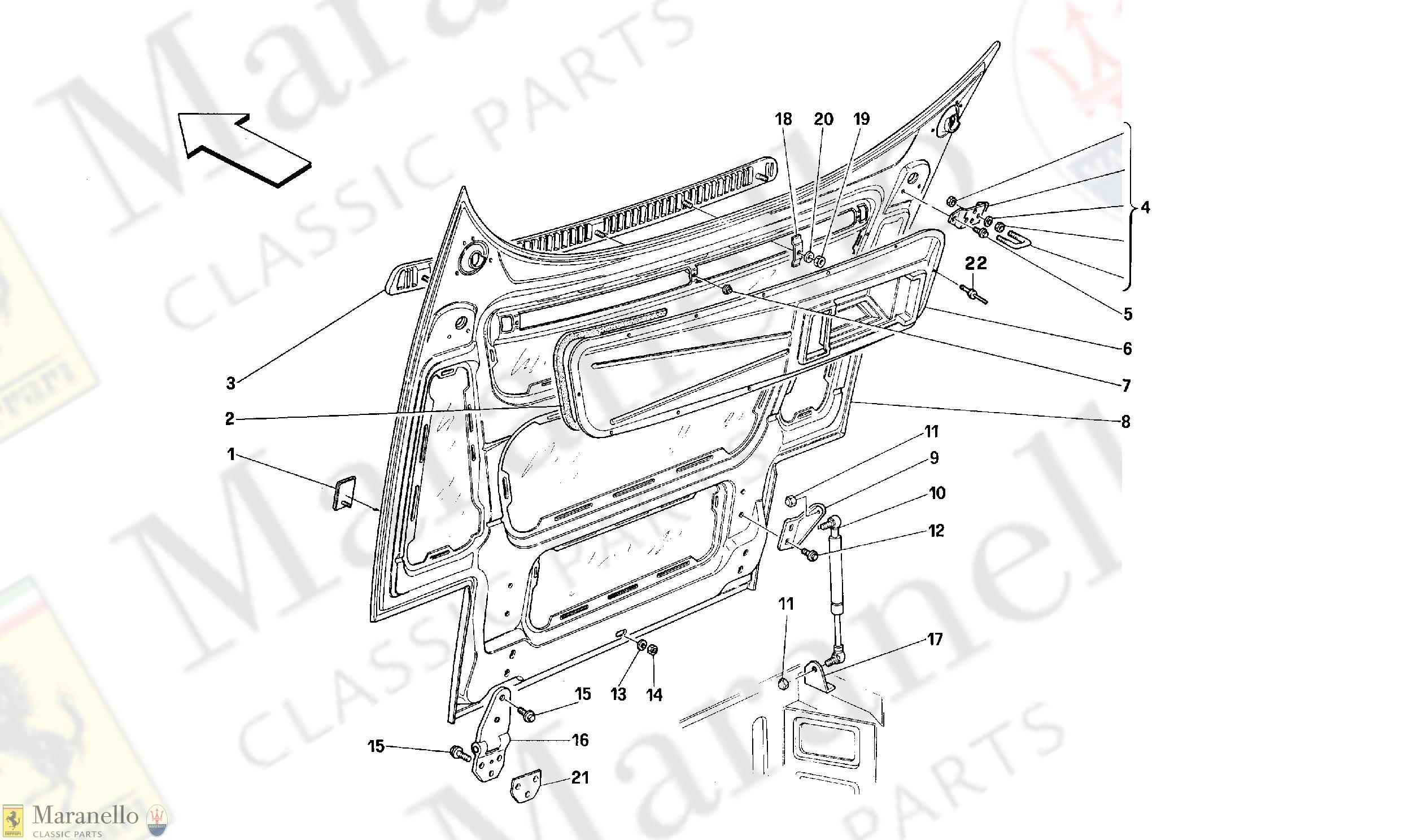 114 - FRONT HOOD parts diagram for Ferrari 348 GTB/GTS/GTC ... Ferrari Schematics Diagrams on