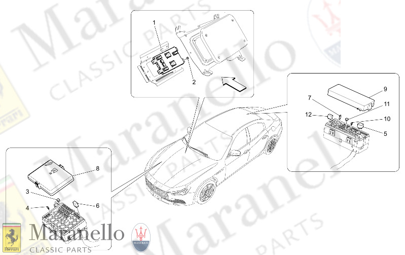 08.61 - 1 RELAYS, FUSES AND BOXES parts diagram for Maserati Ghibli 2014  3.0 BT SOFT V6 2WD 330 HP AUTOMATIC | Maranello Classic PartsMaranello Classic Parts