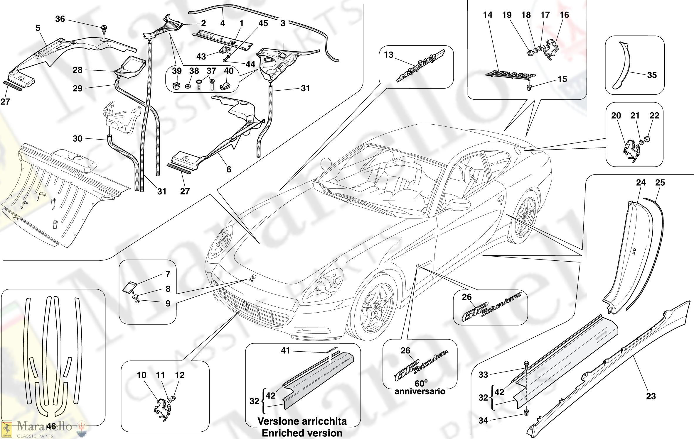 130 - Exterior Trim parts diagram for Ferrari 612 Scaglietti ... Ferrari Scaglietti Wiring Diagram on ferrari f355, ferrari 456 gt, ferrari california, ferrari daytona, ferrari testarossa, ferrari f12 berlinetta, ferrari sedan, ferrari 512 m, ferrari fxx, ferrari 750 monza, ferrari f50, ferrari f430, ferrari 456 gta, ferrari f40,
