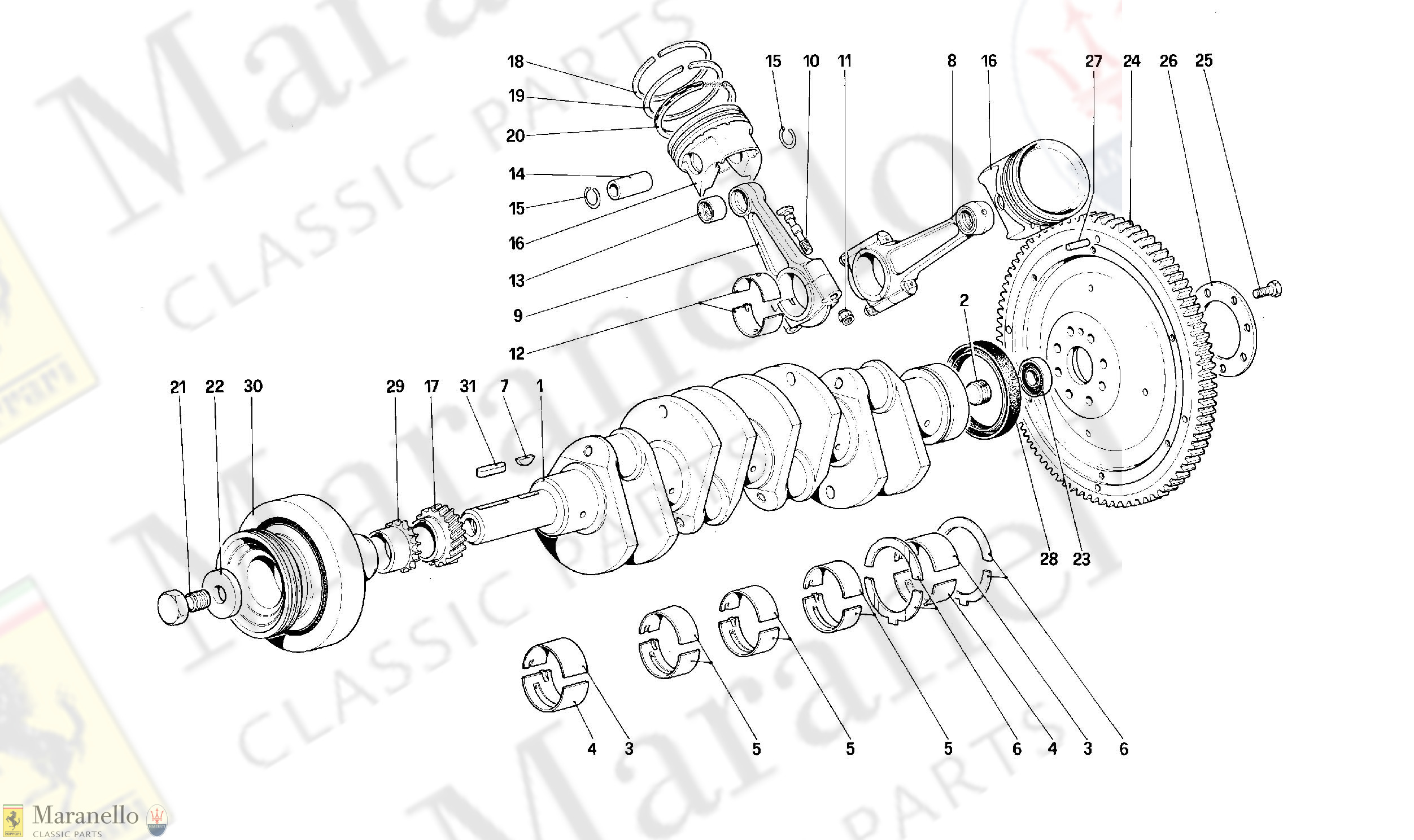 002 - Driving Shaft - Connecting Rods And Pistons - Motor Flywheel