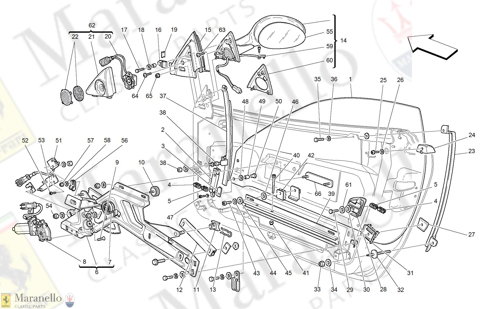 118 Doors Power Window And Rearview Mirror Parts Diagram For Ferrari 360 Modena Maranello Classic Parts