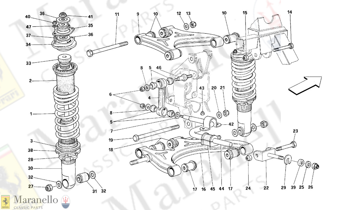 048 - Rear Suspension - Wishbones And Shock Absorers