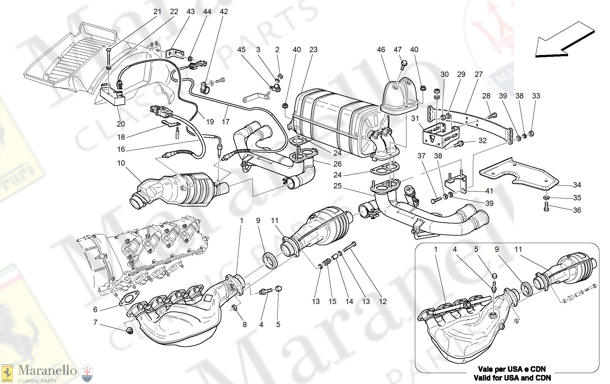020 Racing Exhaust System Optional Parts Diagram For Ferrari 360 Modena Maranello Classic Parts