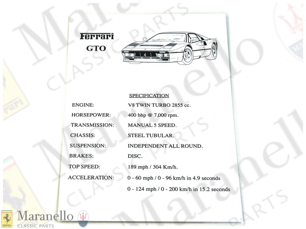 288GTO Specification Sheet