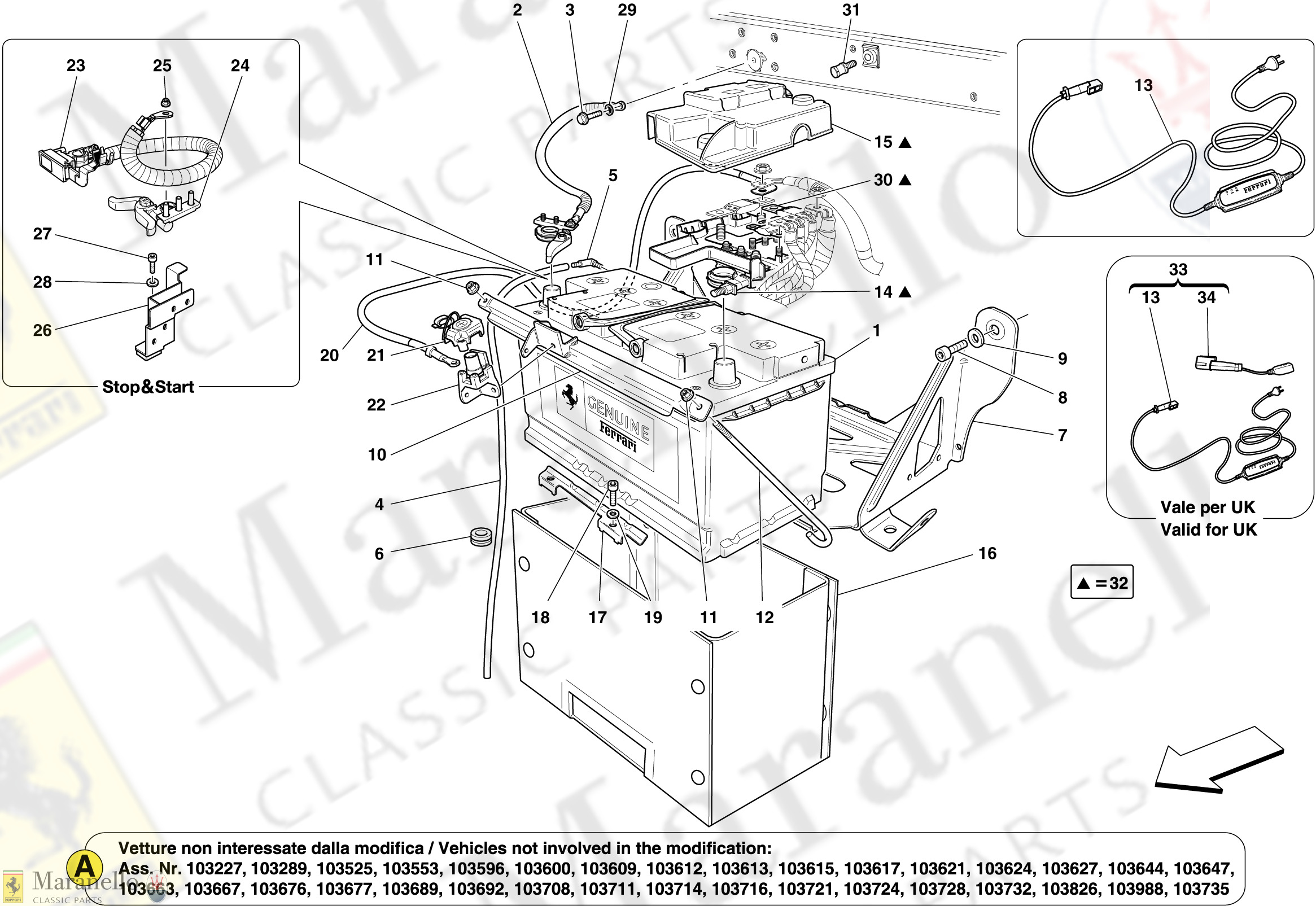 050 Battery Parts Diagram For Ferrari California Maranello Classic Parts