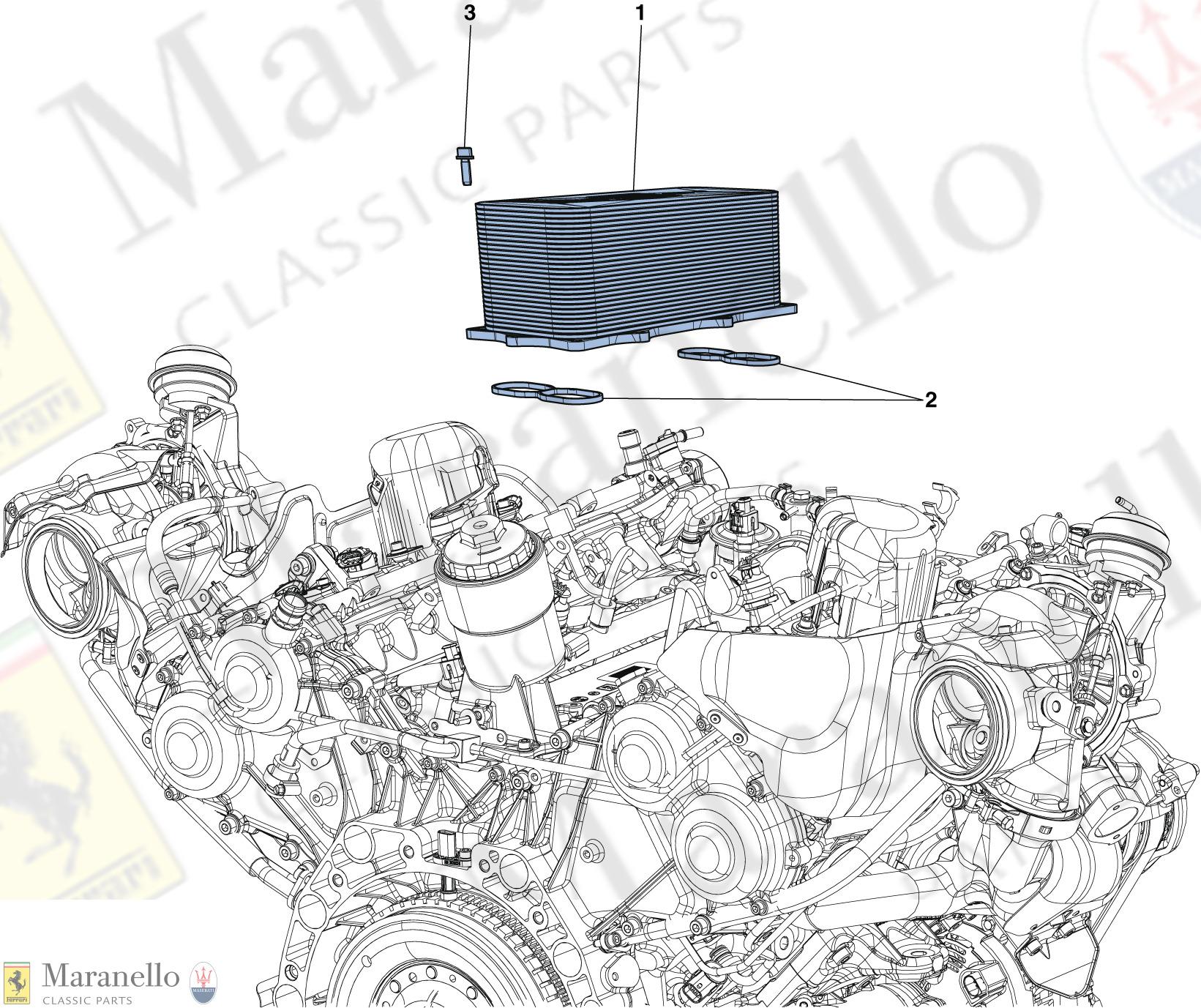 020 - Engine Heat Exchanger parts diagram for Ferrari 488 GTB   Maranello  Classic PartsMaranello Classic Parts